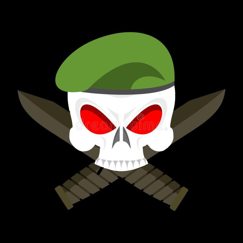 Crânio no emblema das forças armadas da boina Tampão e faca do exército Sig terríveis ilustração stock