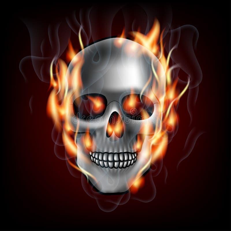 Crânio no fogo ilustração do vetor