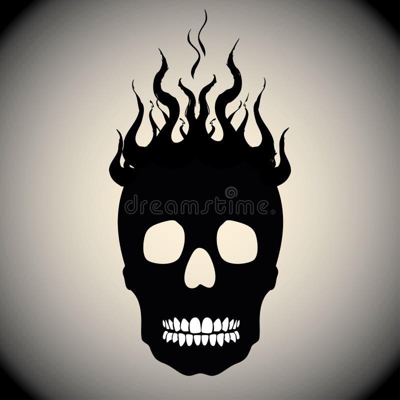 Crânio no fogo com chamas ilustração stock