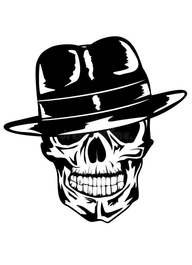 Crânio no gângster do chapéu ilustração do vetor