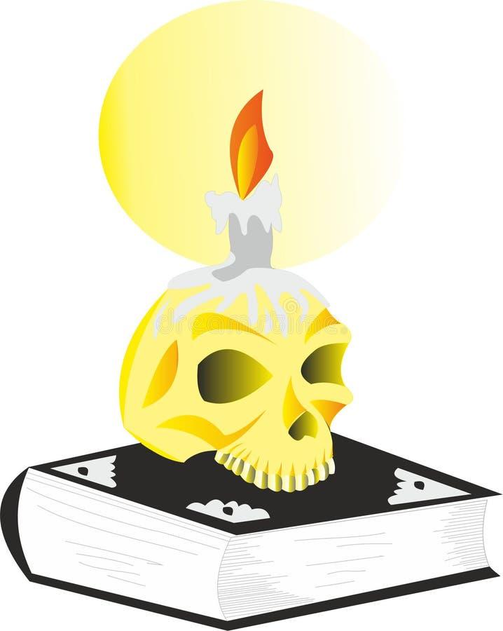 Crânio no livro ilustração do vetor