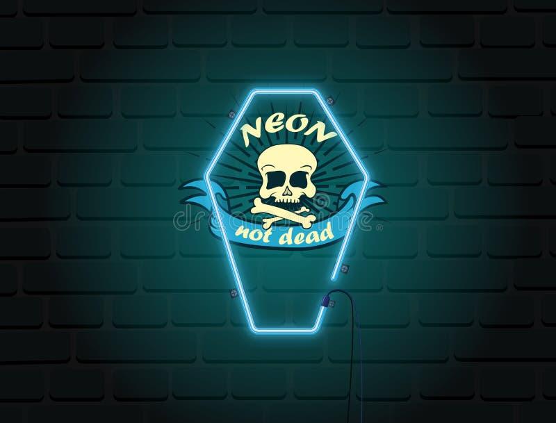 Crânio no logotipo de néon do caixão Rotulação não inoperante do néon na parede de tijolo ilustração stock