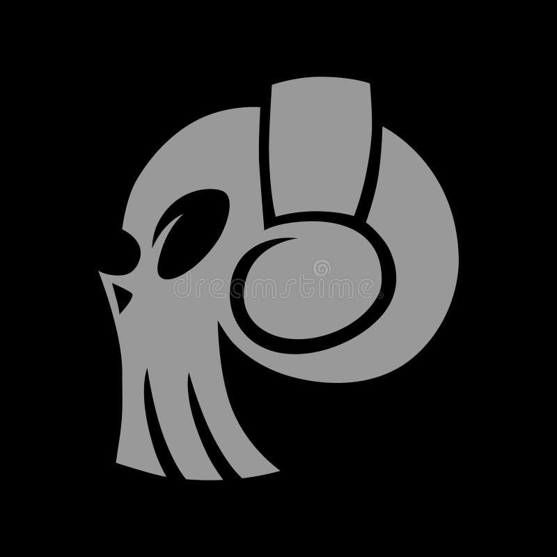 Crânio no símbolo dos fones de ouvido, ícone no fundo preto ilustração stock