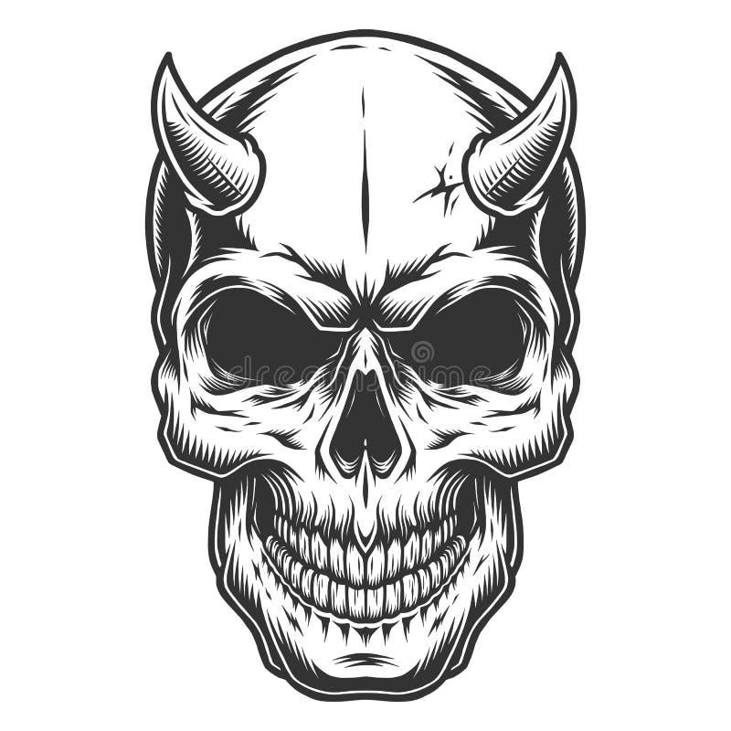 Crânio no stule do vintage ilustração stock