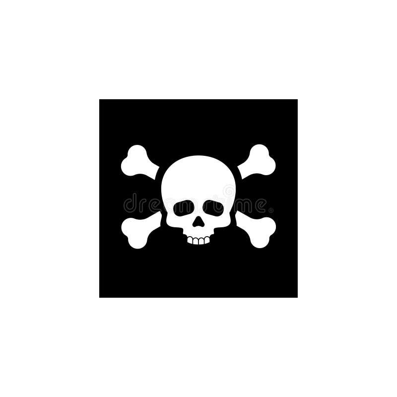 Crânio para o ícone do veneno ou a bandeira de piratas ilustração stock