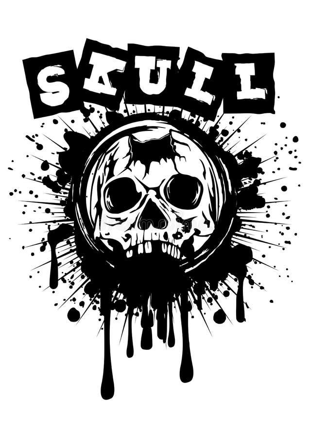 Crânio perfurado no respingo do grunge ilustração stock