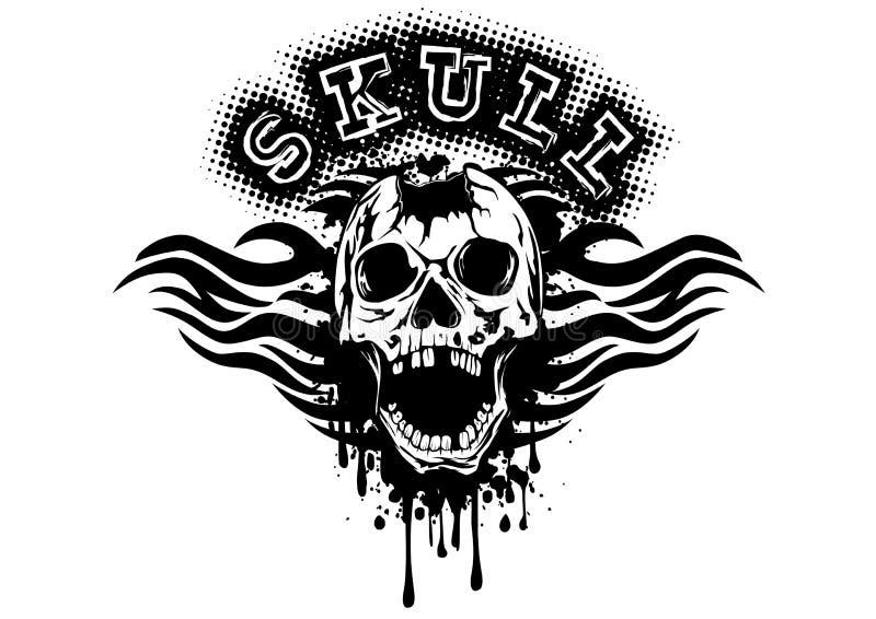 Crânio perfurado no respingo do grunge com testes padrões tribais ilustração stock