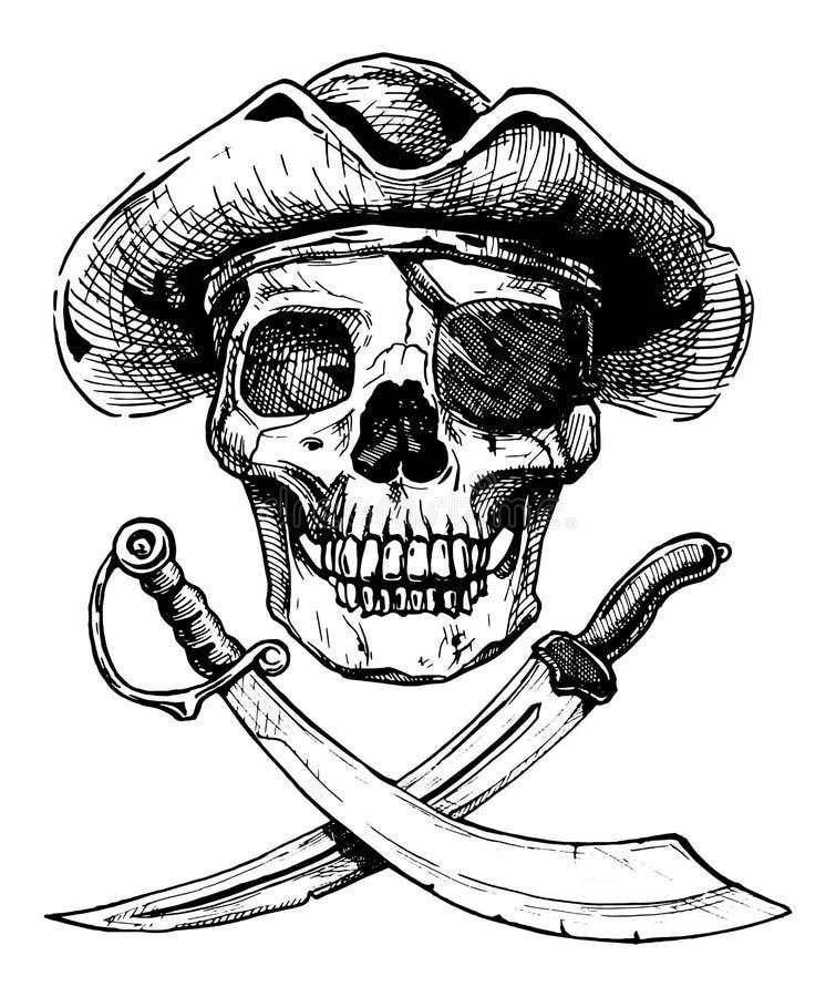 Crânio preto e branco do pirata com espadas transversais ilustração royalty free
