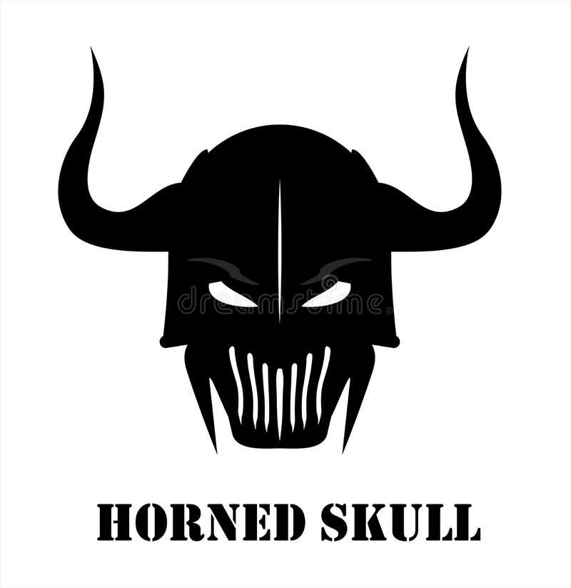Crânio preto Horned do guerreiro ilustração royalty free