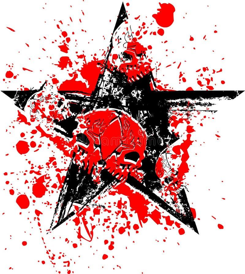 Crânio preto vermelho da estrela ilustração stock