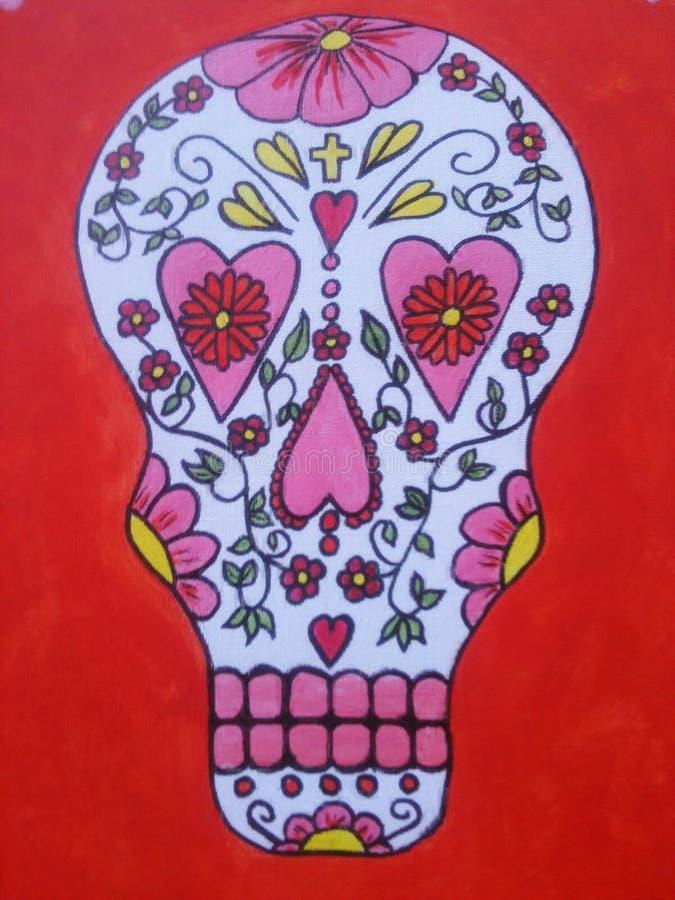 Crânio que dos doces de México eu pintei imagem de stock royalty free