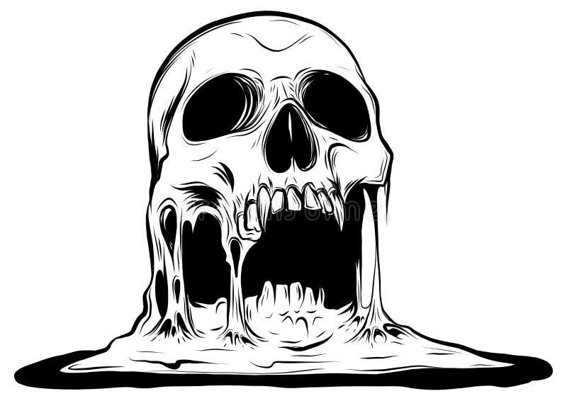 Crânio que está derretendo a ilustração do desenho do vetor ilustração royalty free
