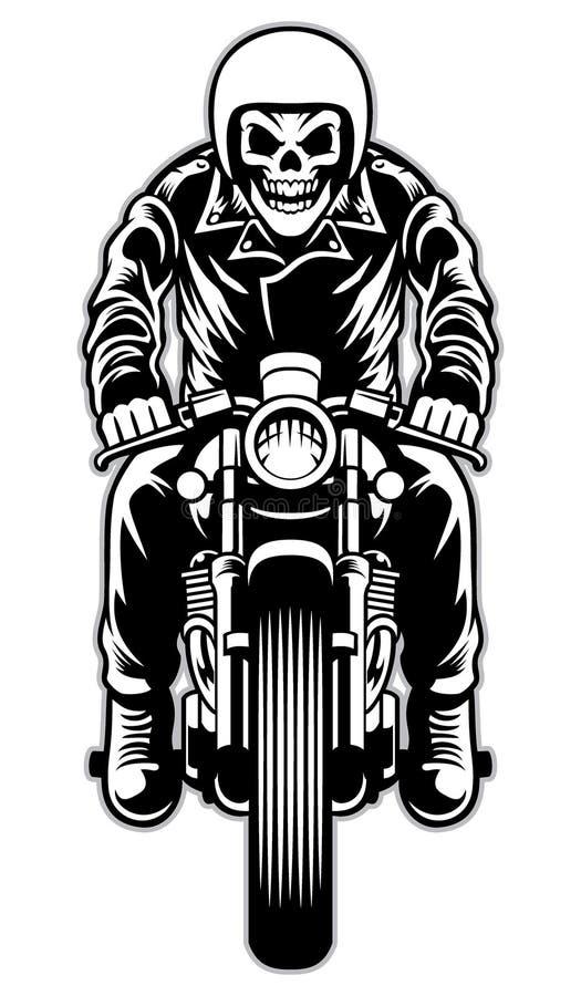 Crânio que monta um estilo da motocicleta do piloto do café ilustração do vetor