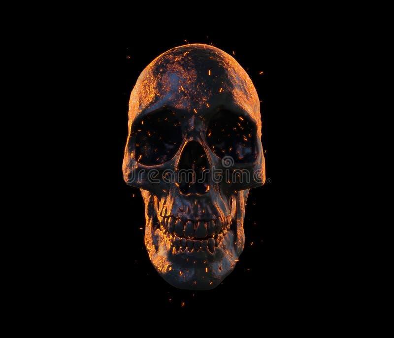 Crânio que queima-se na rendição do papel de parede 3d do fogo ilustração do vetor