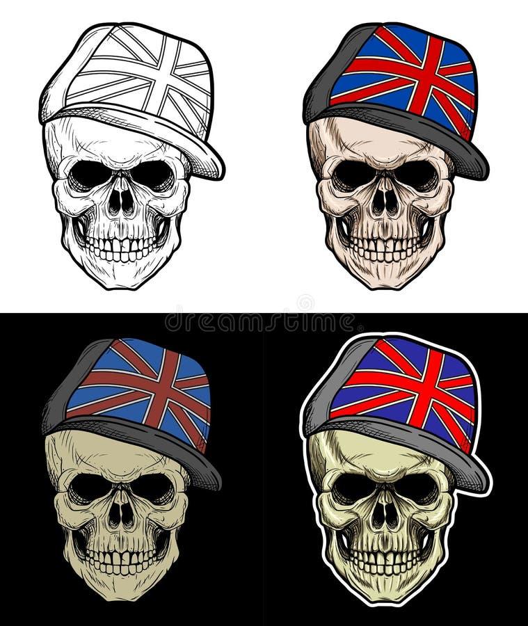 Crânio que veste o chapéu de Inglaterra ilustração do vetor