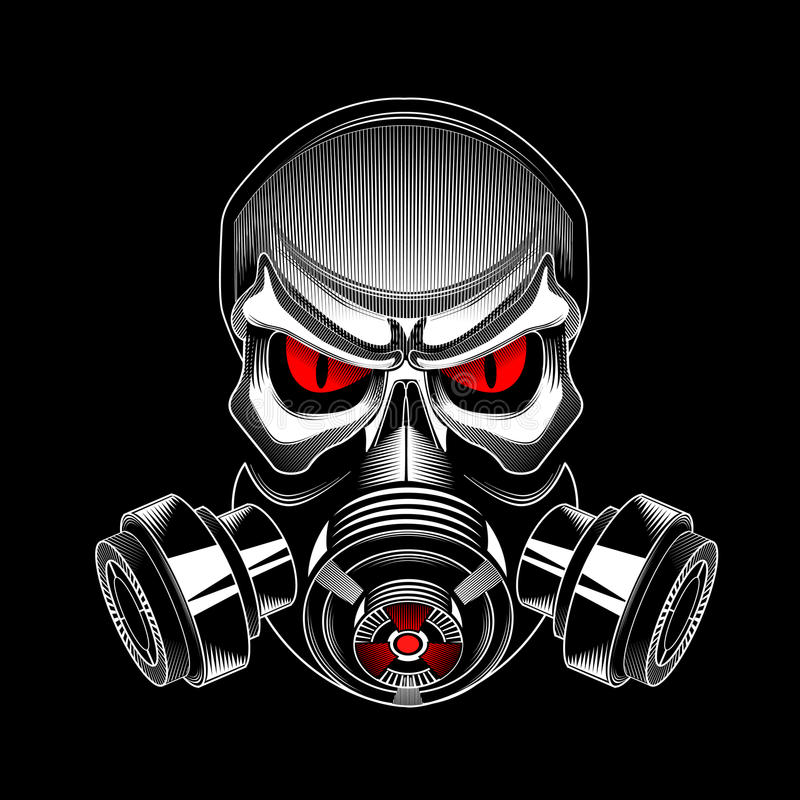 Crânio que veste uma máscara de gás