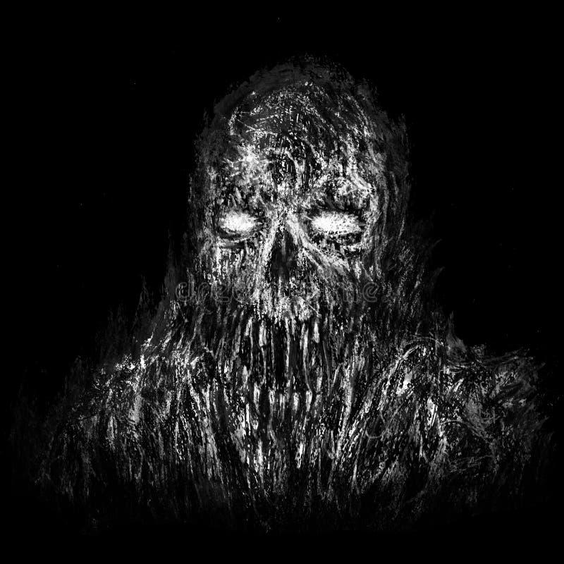 Crânio queimado do zombi no fundo preto ilustração do vetor