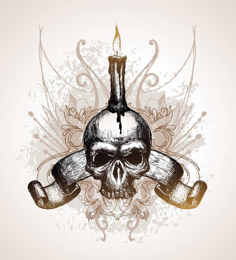Crânio, rolo e vela ilustração royalty free