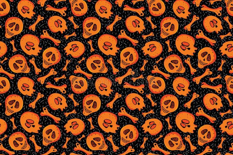 Crânio sem costura e padrão ósseo em fundo preto Fundo do esqueleto de laranja Design brilhante para têxteis, papel ilustração stock