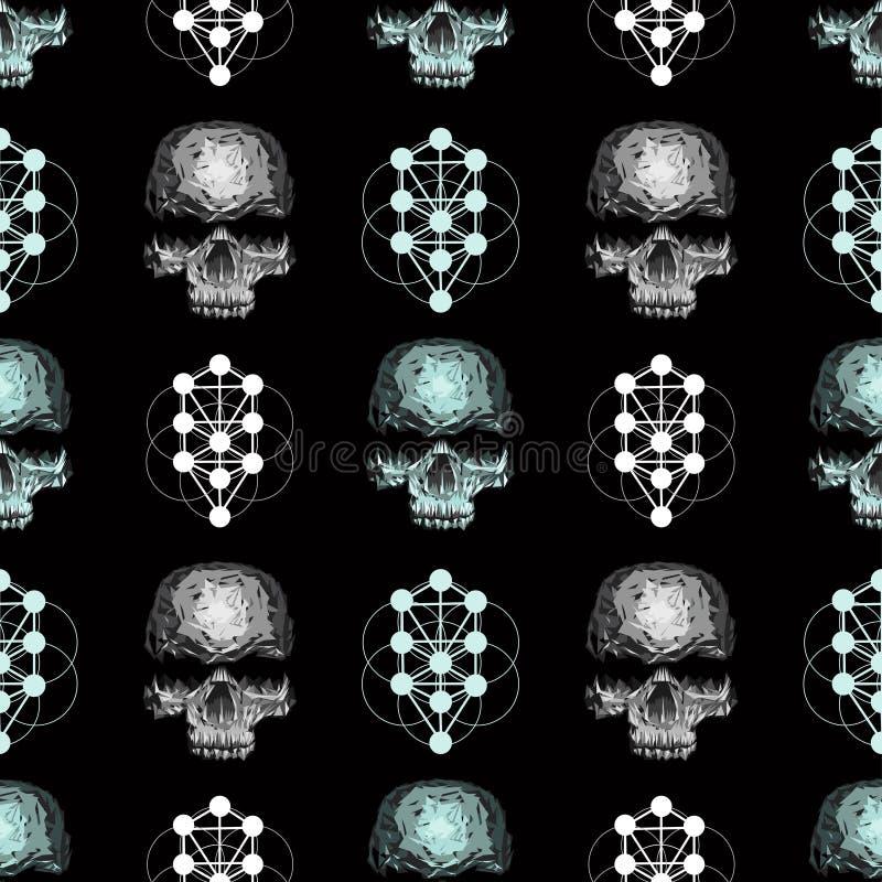 crânio sem emenda do teste padrão do vetor ilustração stock