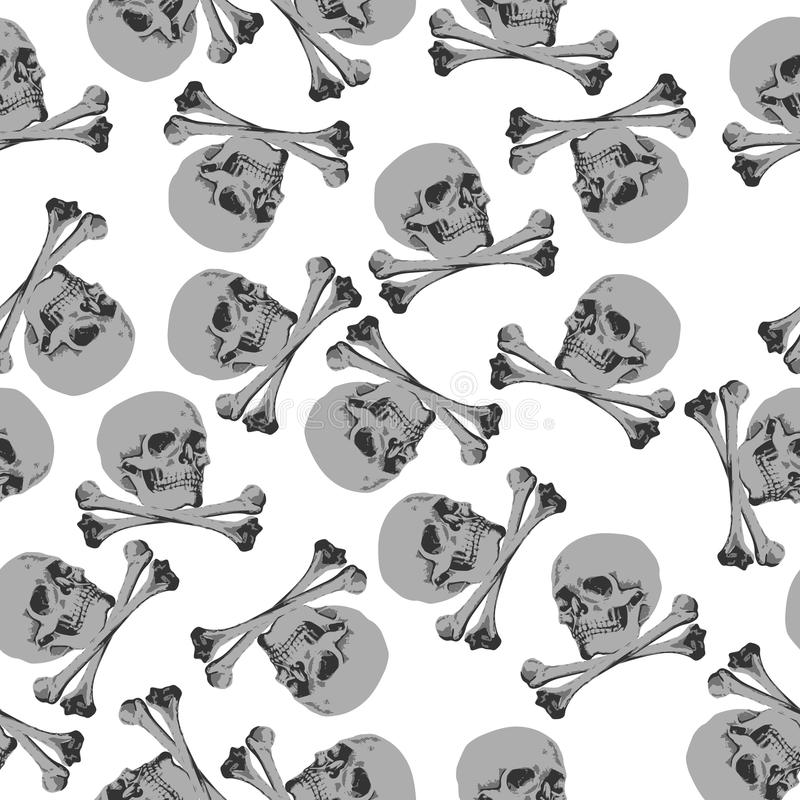 Crânio sem emenda e ossos cruzados de Jolly Roger do teste padrão ilustração stock