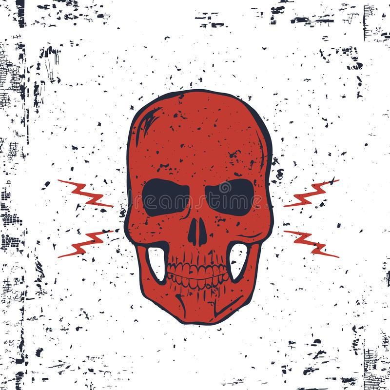Crânio vermelho com parafusos de relâmpago e textura do Grunge Vetor ilustração royalty free