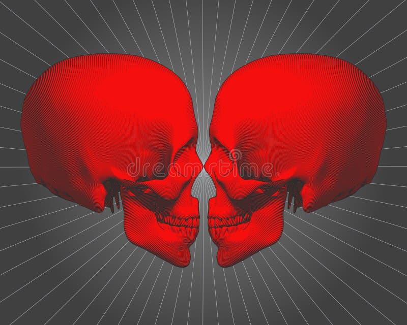 Crânio vermelho da gravura na vista lateral na BG cinzenta ilustração royalty free