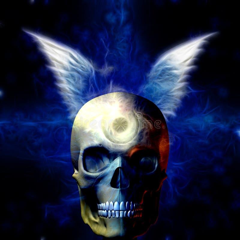Crânio voado com olho ilustração royalty free
