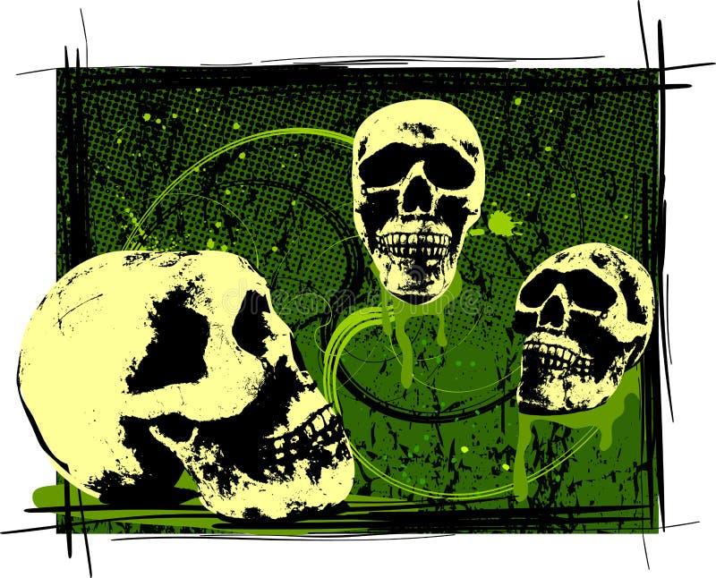 Crânios assustadores de Halloween ilustração do vetor
