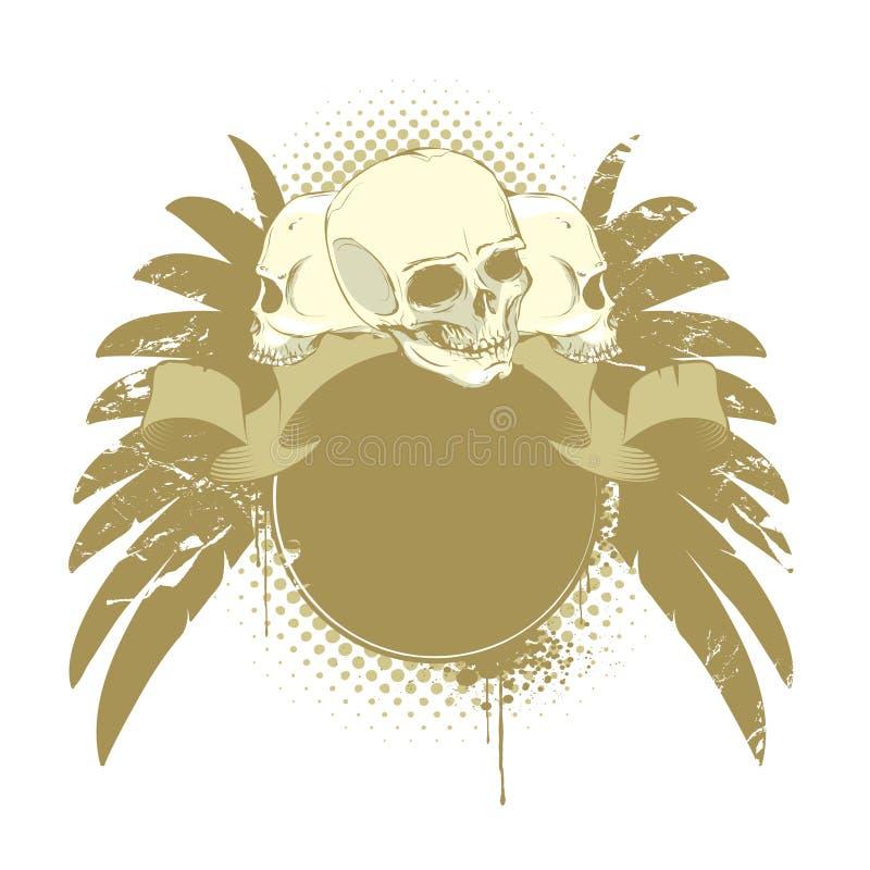 Crânios com asas ilustração do vetor