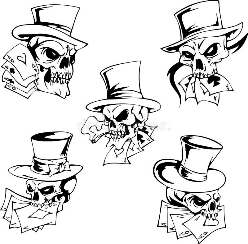 Crânios com cartões de jogo ilustração do vetor