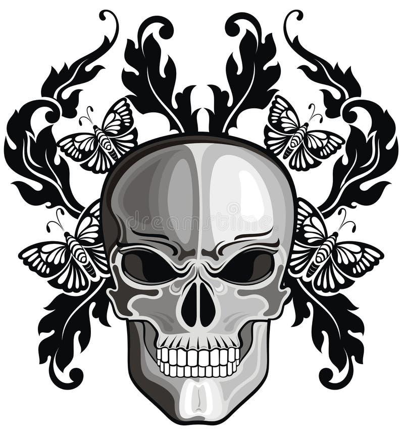 Crânios com testes padrões florais ilustração do vetor