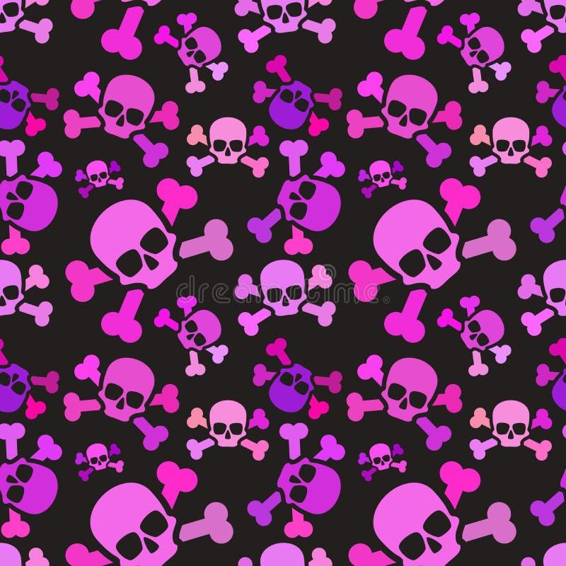 Crânios cor-de-rosa no fundo escuro, teste padrão sem emenda da subcultura do emo ilustração do vetor