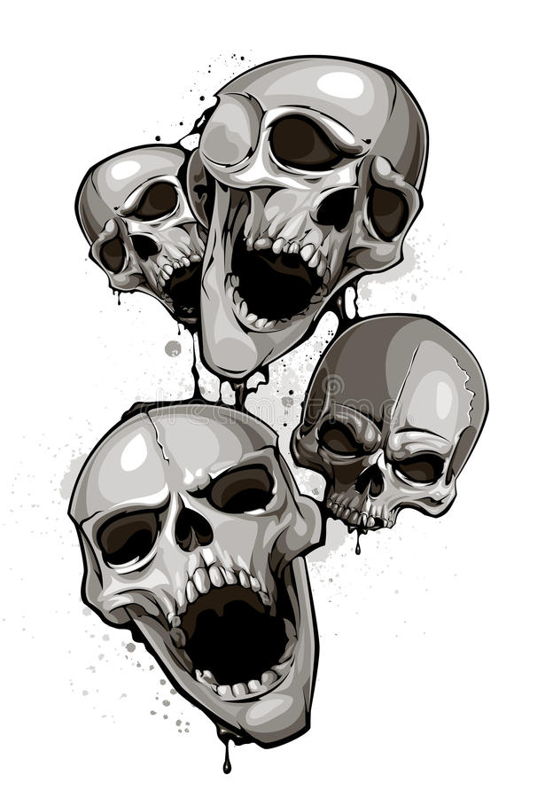 Crânios decrépitos ilustração stock