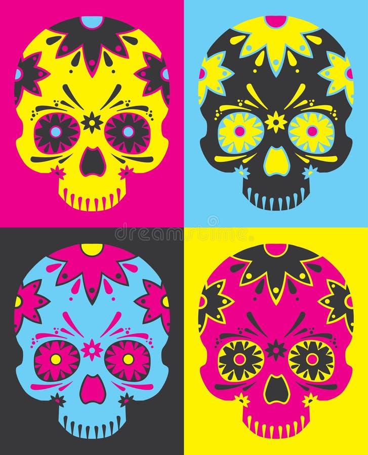 Crânios do mexicano do pop art ilustração royalty free