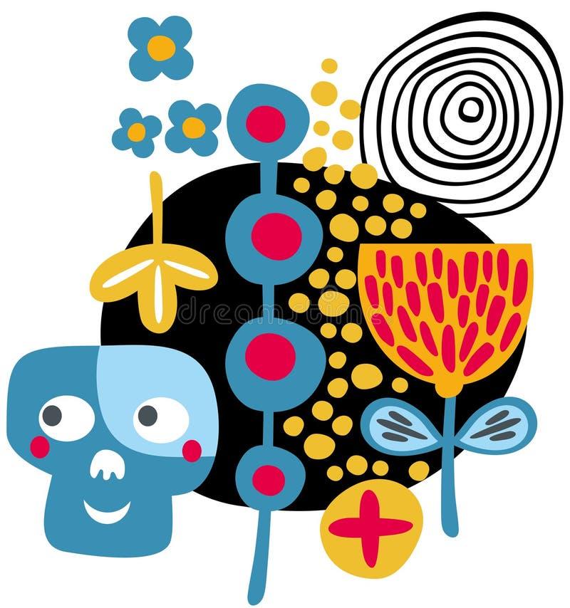 Crânios e flores. ilustração royalty free