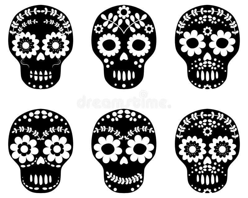 Crânios florais preto e branco do açúcar ilustração stock