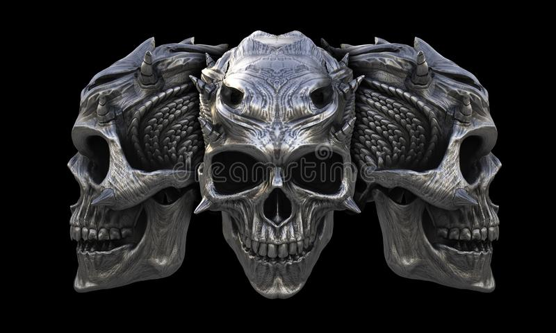 Crânios horned do demônio do metal pesado ilustração do vetor