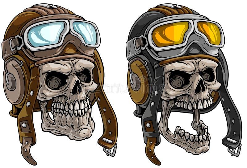Crânios humanos de desenho animado em capacete piloto de couro retrô ilustração do vetor