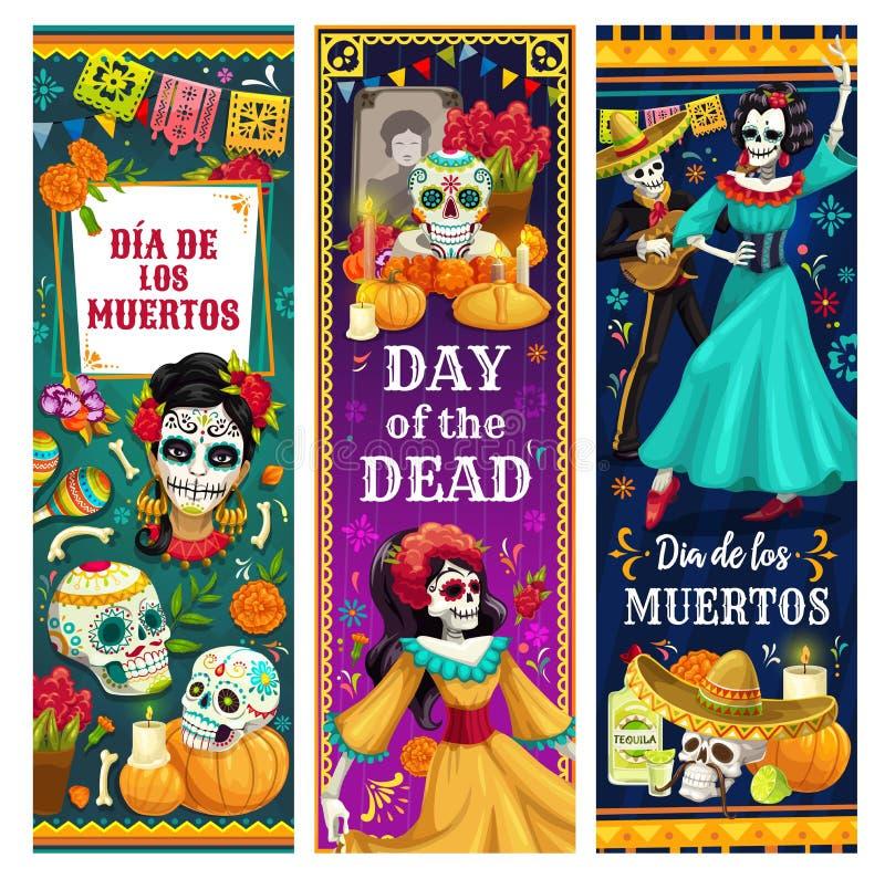 Crânios inoperantes do dia, esqueletos, altar Feriado mexicano ilustração royalty free