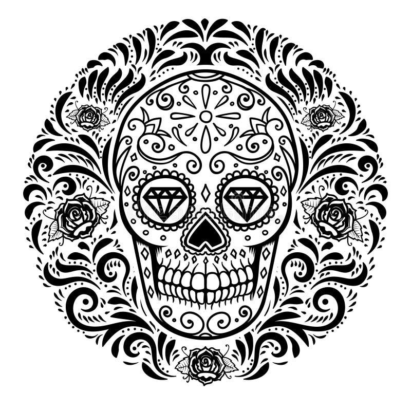 Crânios mexicanos do açúcar com fundo floral do teste padrão Dia dos mortos Projete o elemento para o cartaz, cartão, bandeira, c ilustração stock