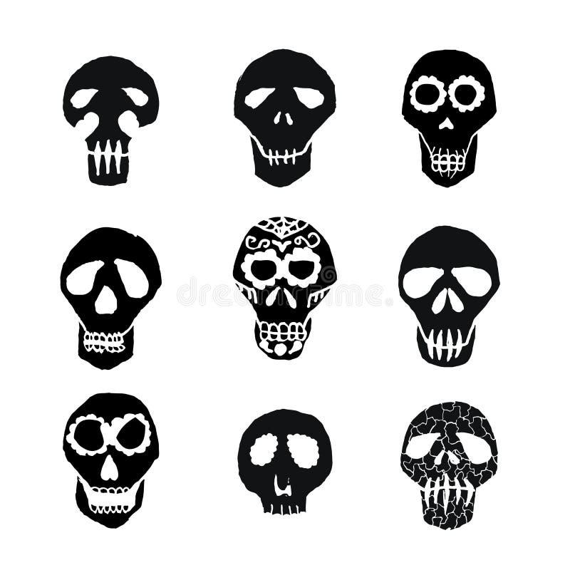 Crânios mexicanos do açúcar de Diâmetro de los Muertos ajustados ilustração stock