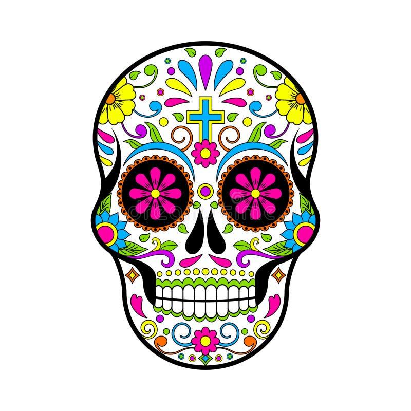 Crânios mexicanos do açúcar, dia da ilustração inoperante no fundo branco ilustração do vetor