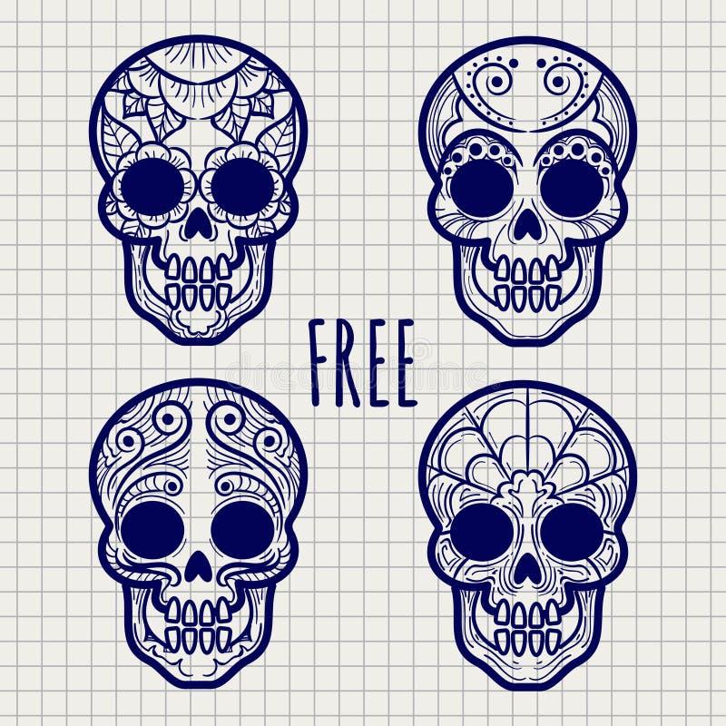 Crânios mexicanos do calavera na página do caderno ilustração do vetor