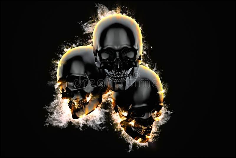 Crânios na chama ilustração do vetor