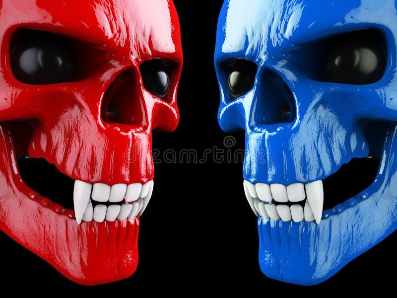 Crânios vermelhos e azuis do vampiro - cara a cara ilustração stock
