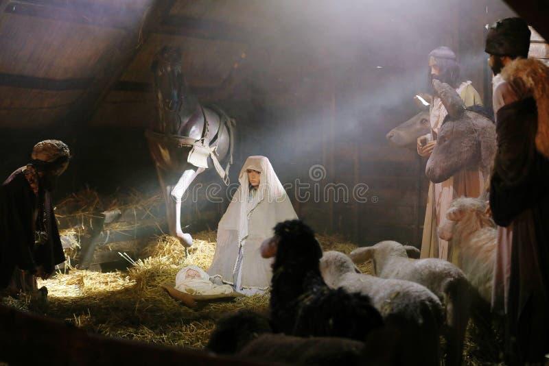Crèche, berceau, naissance de Jésus, scène chrétienne photographie stock