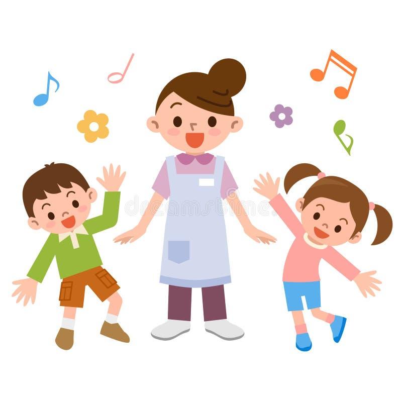 Crèche et enfants illustration de vecteur