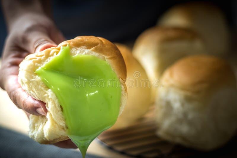 Crème anglaise pandan verte fraîche de dessert thaïlandais doux délicieux de plan rapproché photos libres de droits