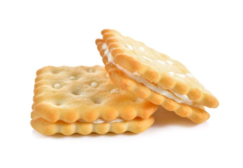 Crème au citron de sandwich à souffle sur le blanc photographie stock